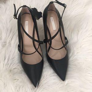 H&M genuine leather pointy heels NWT 8.5 black